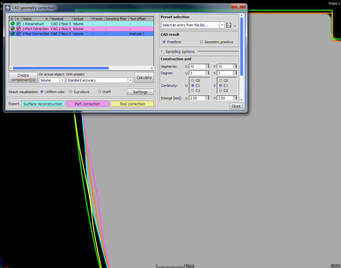 Manufacturing Geometry Correction with dialog box